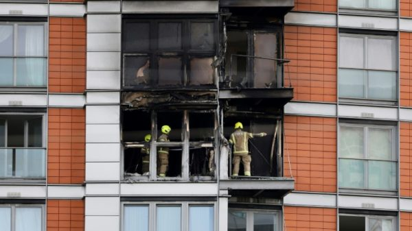 Blaze rips through London tower with same cladding as Grenfell