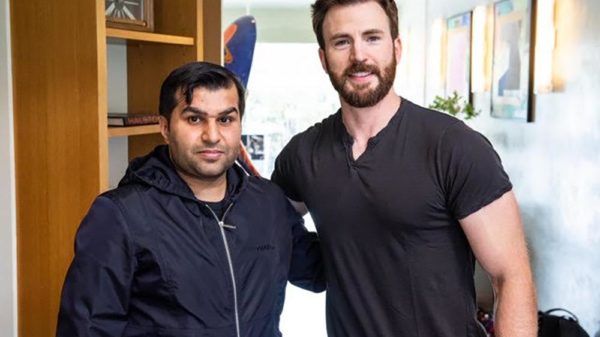 Amjad Khalid (left), owner and founder of Dough Central, with Captain America star, Chris Evans. Photo courtesy Amjad Khalid / Thomas Herd