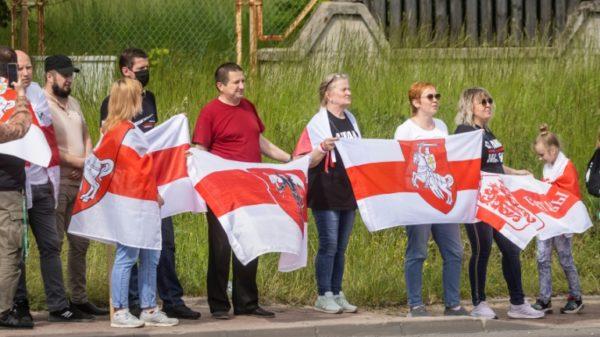 'An iron curtain': Exiled Belarusians protest on border
