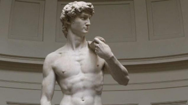 David was sculpted in marble between 1501 and 1504 by the Italian artist Michelangelo.
