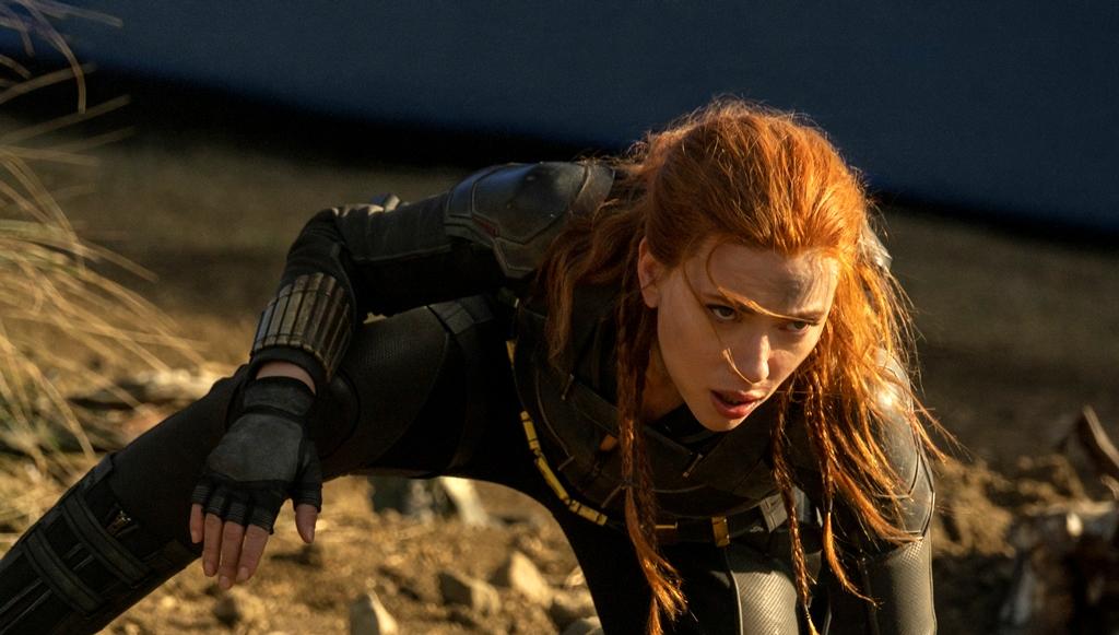 Scarlett Johansson does hero pose in 'Black Widow'