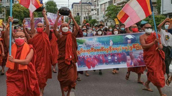 Myanmar monks march against military junta