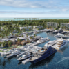 The rendering above showing Hurricane Hole Superyacht Marina at Paradise Landing, the latest development by Sterling Global Financial, on Paradise Island in the Bahamas. The marina is set to open December 2021.
