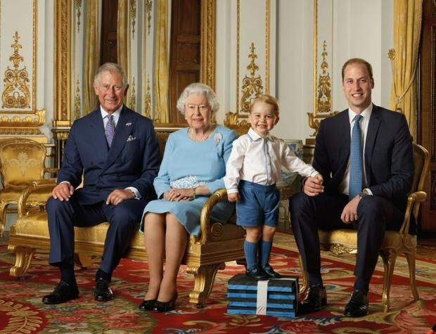 (L-R) Prince Charles  Queen Elizabeth II  Prince George and Prince William during a photo shoot for ...