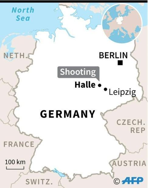 Map of Germany locating the city of Halle