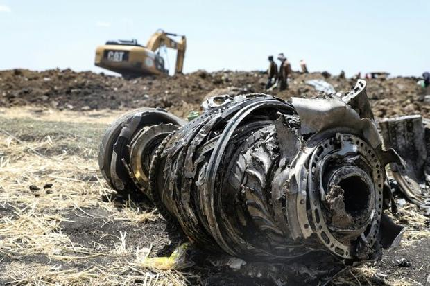 Debris of the Boeing 737 MAX 8 plane was strewn over the crash site 60 kilometres from Addis Ababa