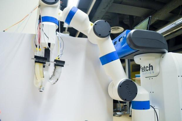 Researchers installed the soft robotic gripper on a Fetch Robotics robot in their lab.