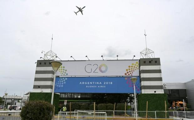Partial view of the entrance to the Costa Salguero Centre  which will host the G20 Summit in Buenos ...