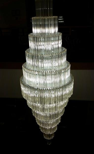 An impressive glass chandelier.