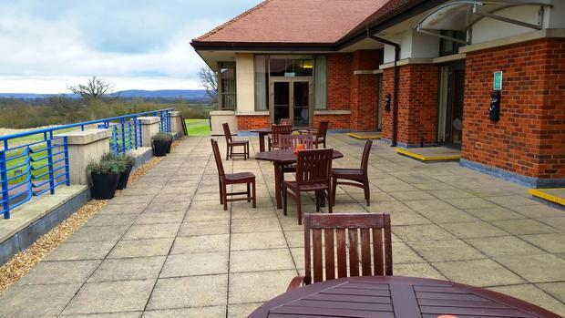 The hotel bar balcony  at The Oxfordshire Hotel.