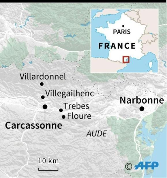 Map of southwestern France showing flood-hit areas
