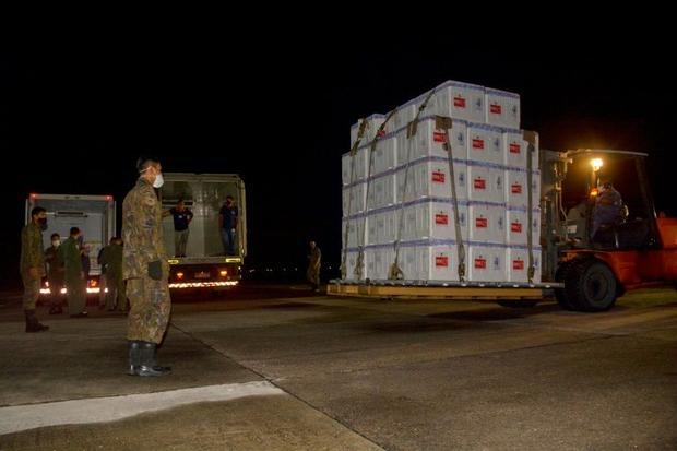Boxes containing doses of the CoronaVac vaccine arrive in Manaus  Brazil  on January 18  2021