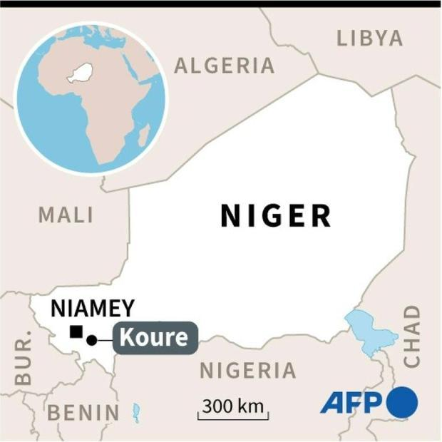A map of Niger locating the Koure reserve