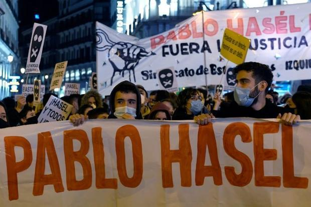 Hasel was convicted over tweets calling former king Juan Carlos I a mafia boss and accusing police o...