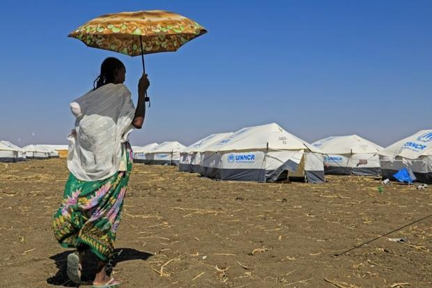 Haven: A woman who fled the Tigray conflict  pictured at the Tenedba refugee camp in Mafaza  eastern...