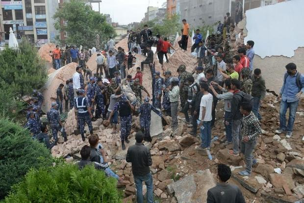 The powerful earthquake caused massive damage in the Nepal  capital Kathmandu  with rescue members r...