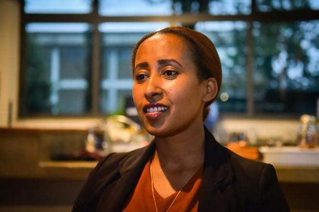 Mehret Eyob says customers at Galani Coffee where she works are frequently frustrated by internet ou...