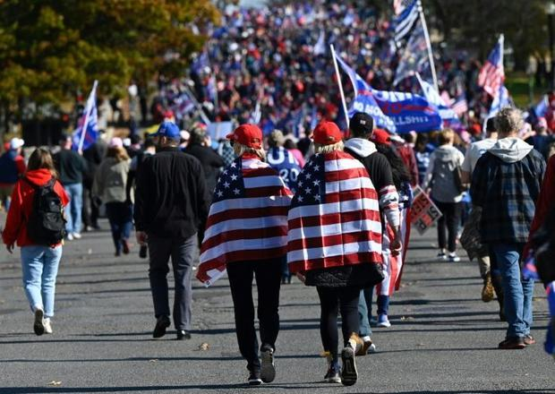 Supporters of US President Donald Trump rally in Washington  claiming that the November 3 election w...