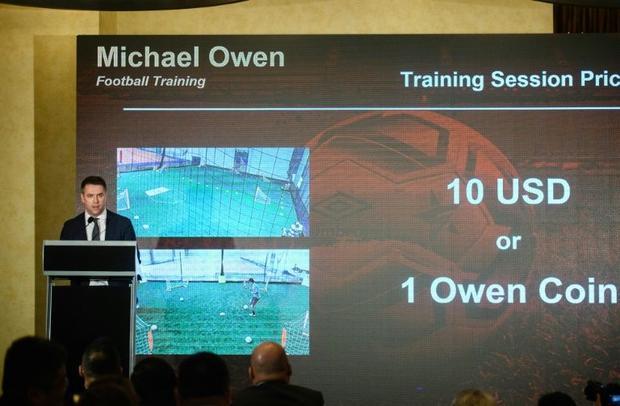 Former Manchester United striker Michael Owen unveils the Owen Coin in Hong Kong