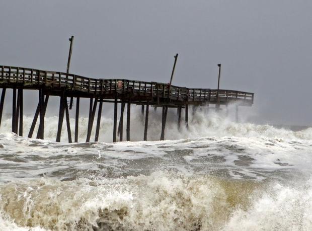 Waves crash on Rodanthe Pier as Hurricane Dorian hits Cape Hatteras in North Carolina on September 6