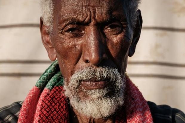 Ethiopian Walagabriel Sium  a 73-year-old farmer who fled the Tigray conflict  at the Um Raquba refu...