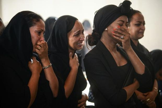 Women mourn during a memorial ceremony in Addis Ababa  Ethiopia on Monday March 11  2019