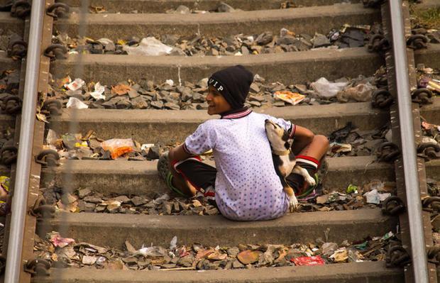 Boy playing with puppy. Dhakuria Railway Colony. Kolkata  India.