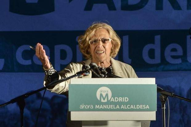 Ahora Madrid candidate for mayor of Madrid  Manuela Carmena addresses supporters following the resul...