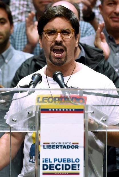 The vice-president of Venezuela's opposition-controlled National Assembly  Freddy Guevara  spea...