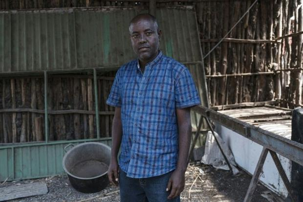 Berhanu Belay Teferra  pictured at his home in Alamata after being released as a prisoner of the Tig...