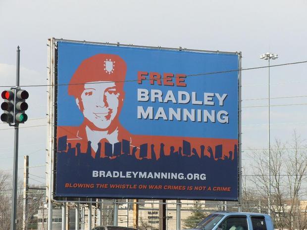 Billboard showing support for Bradley Manning.