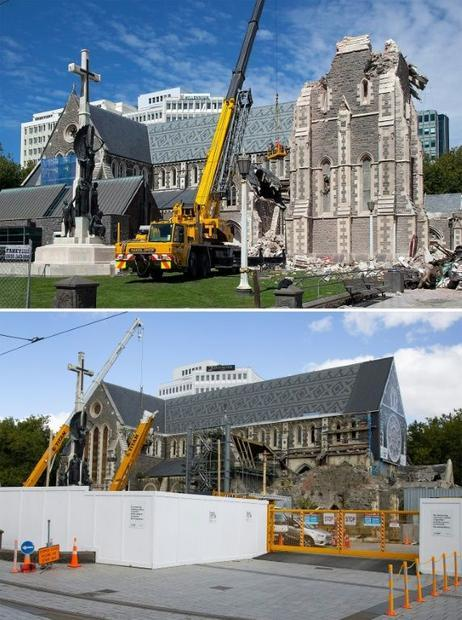 Christchurch Cathedral was badly damaged by the earthquake. The above picture was taken two days aft...