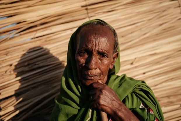 Ethiopian Jeshu Walagarima  a 75-year-old who fled the Tigray conflict with her grandsons  outside h...