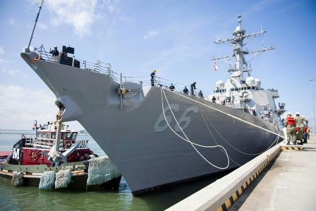The guided-missile destroyer USS Gonzalez departs Naval Station Norfolk ahead of Hurricane Florence