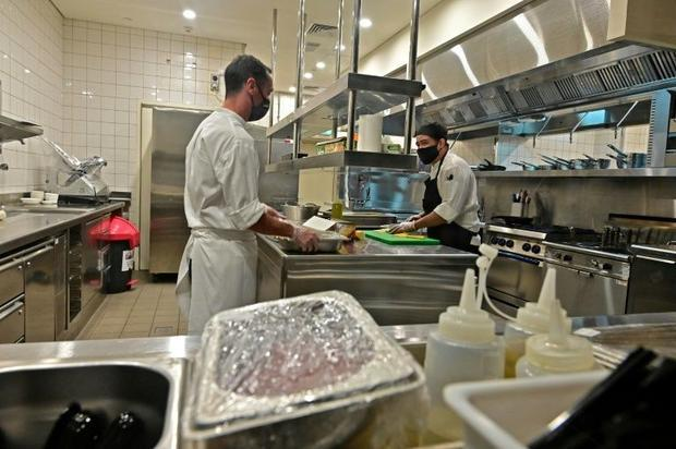 Fabien Fayolle (L)  the chef at the Armani/Kaf  which is being positioned as Dubai's first kosh...