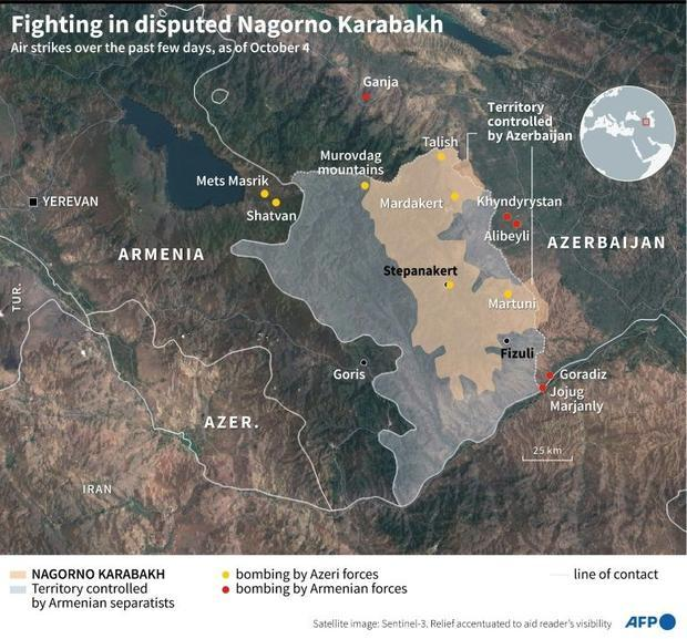 A map of Nagorno Karabakh  Armenia and Azerbaijan  locating bombings by both sides in recent days