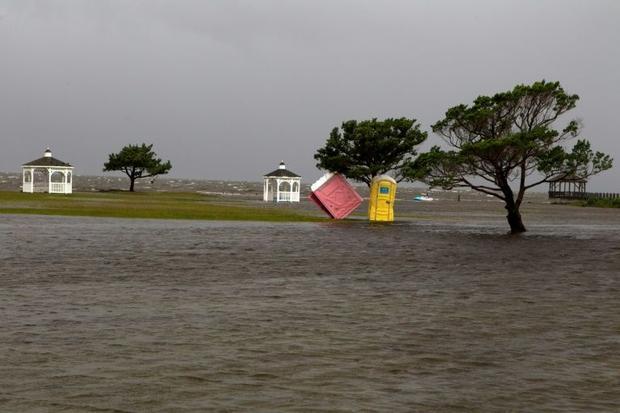 A park floods in Rodanthe  North Carolina as Hurricane Dorian hits Cape Hatteras