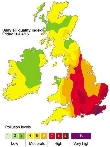 Air quality index warning