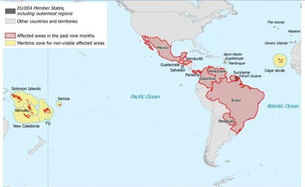 Latin American countries where the Zika virus has been reported.