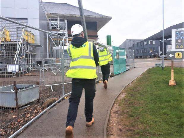 Construction workers at a site in Hertfordshire  U.K.