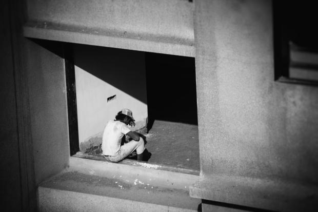 Worker taking a break on the sixth floor.