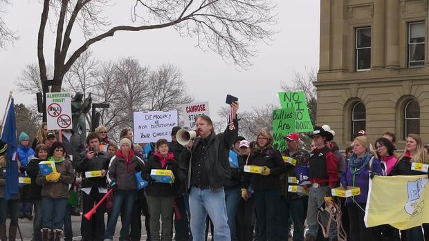George Clark speaking at the anti-NDP protest on March 8 in Edmonton.