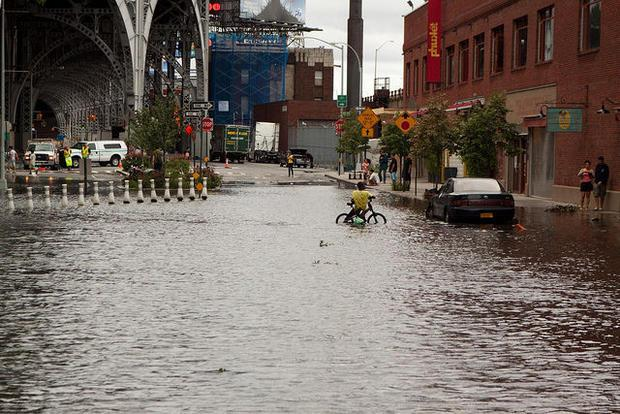Flooding in West Harlem after Hurricane Irene passes through