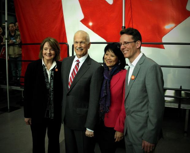 New Democratic Party leader Jack Layton and fellow New Democrats.