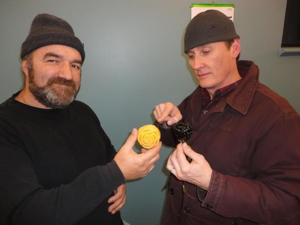 John Jacowskl Toronto Area beekeeper stands beside Matthew Robert White in the Organic Farmers Marke...