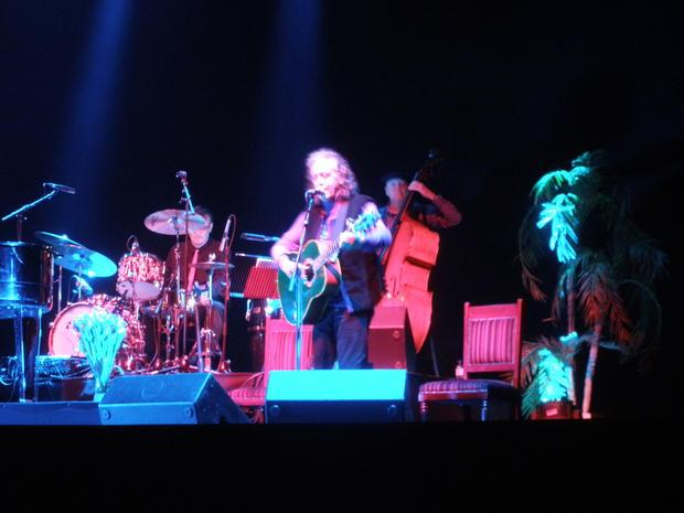 Donovan and his band on stage at the London Palladium  May 6  2016.