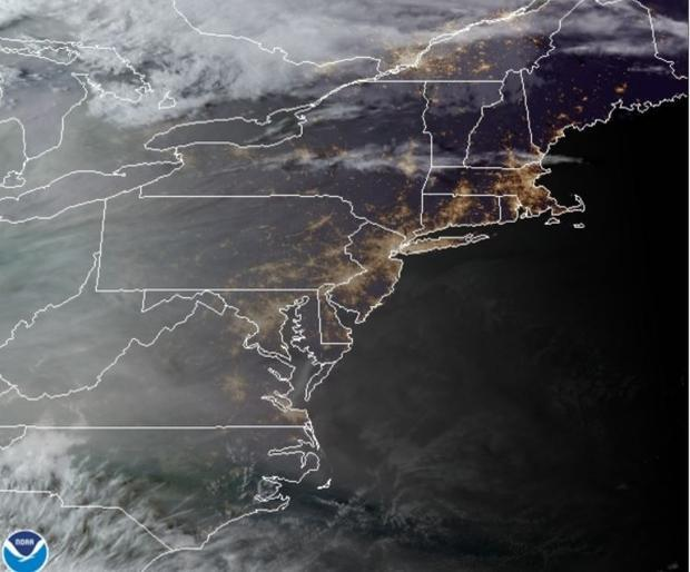 Wildfire smoke on the Easdt Coast of U.S. as seen from the GOES 16 satellite on September 15  2020.