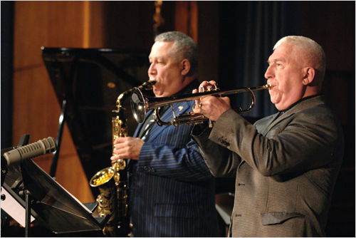 Jazz musicians Paquito D Rivera and Valery Ponomarev play at a concert in tribute to Voice of Americ...