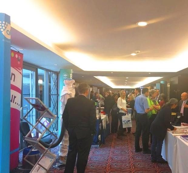 Delegates at the Pharmig conference  visiting exhibition stands in-between sessions.