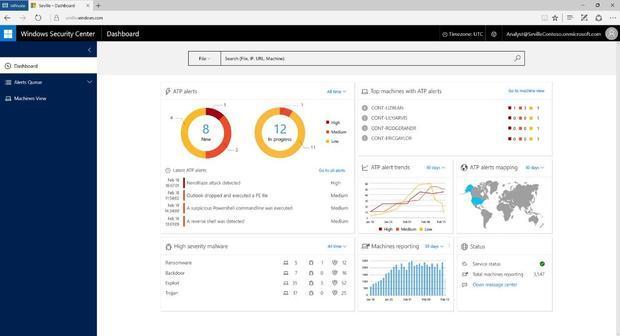 Windows 10 Anniversary Update security dashboard
